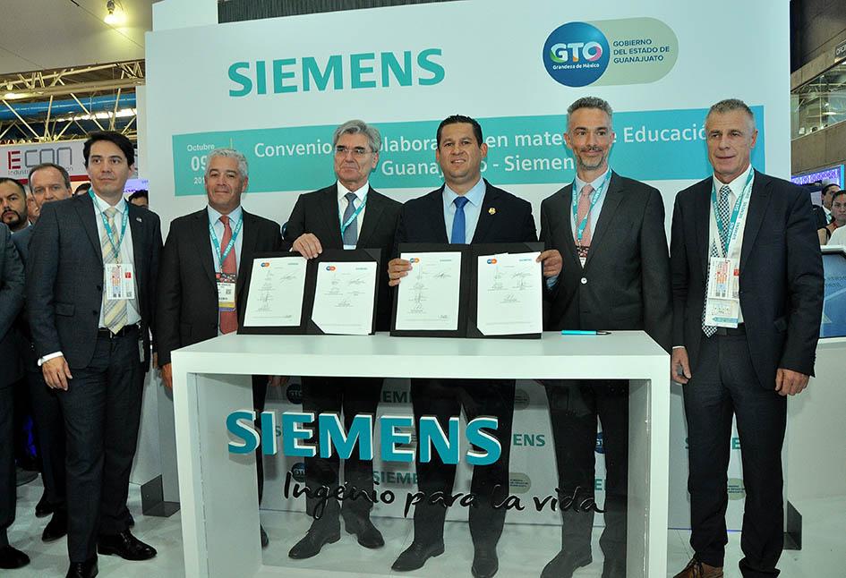 Siemens y el Gobierno de Guanajuato firman convenio para desarrollar programas de capacitación e impulsar la formación técnica en el estado.