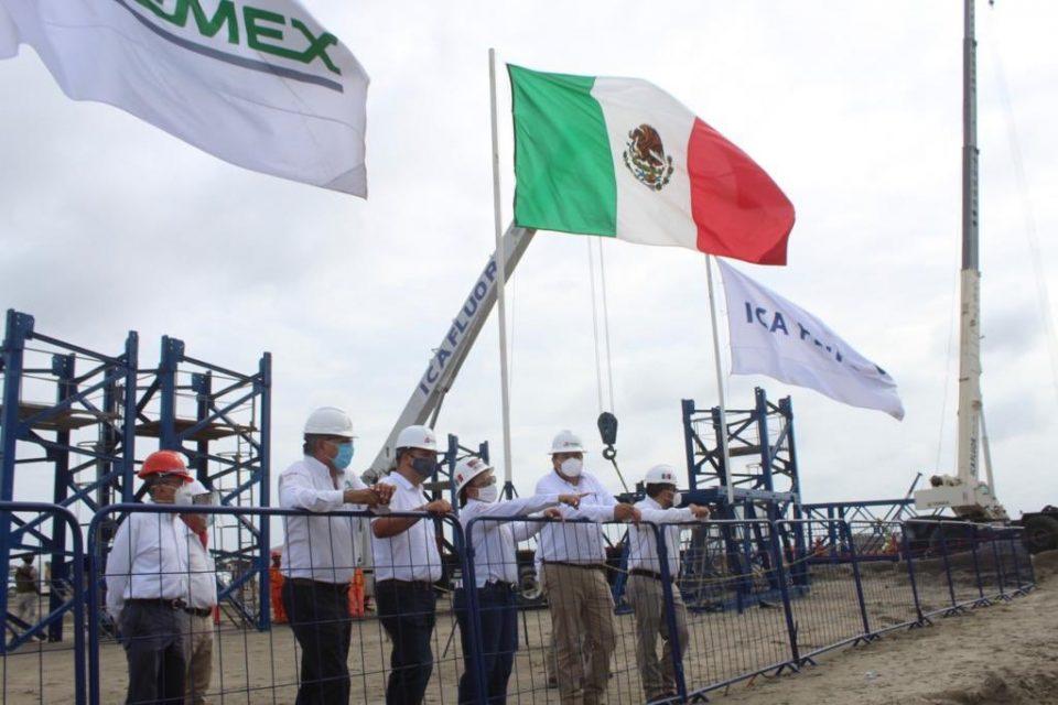 Rocío Nahle García, titular de la Secretaría de Energía, informó que la construcción de la refinería en Dos Bocas se encuentra en la etapa de cimentación superficial.