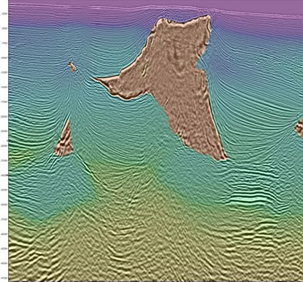 Efecto de sensibilidad en modelo terrestre en imagen sísmica