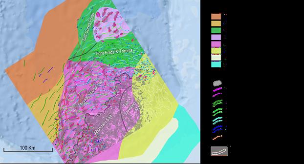 impacto de la tectónica salina en el potencial de hidrocarburos del sur de México en alta mar.